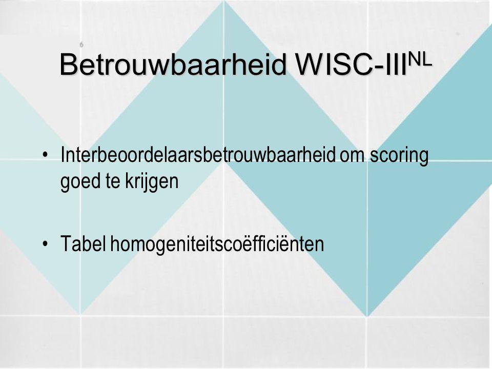 Betrouwbaarheid WISC-IIINL