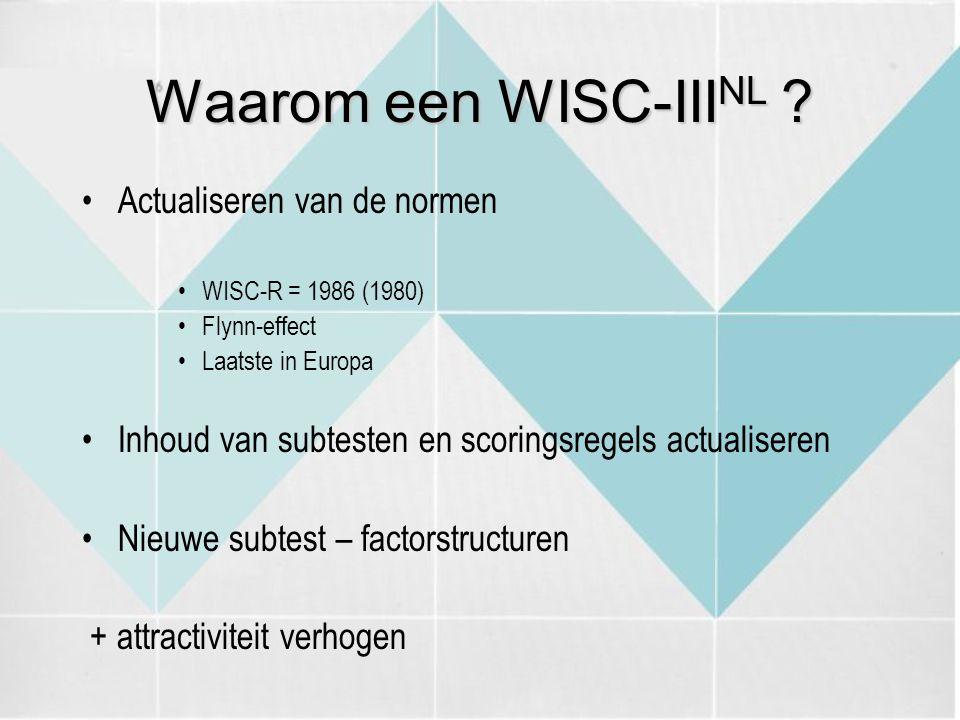 Waarom een WISC-IIINL Actualiseren van de normen