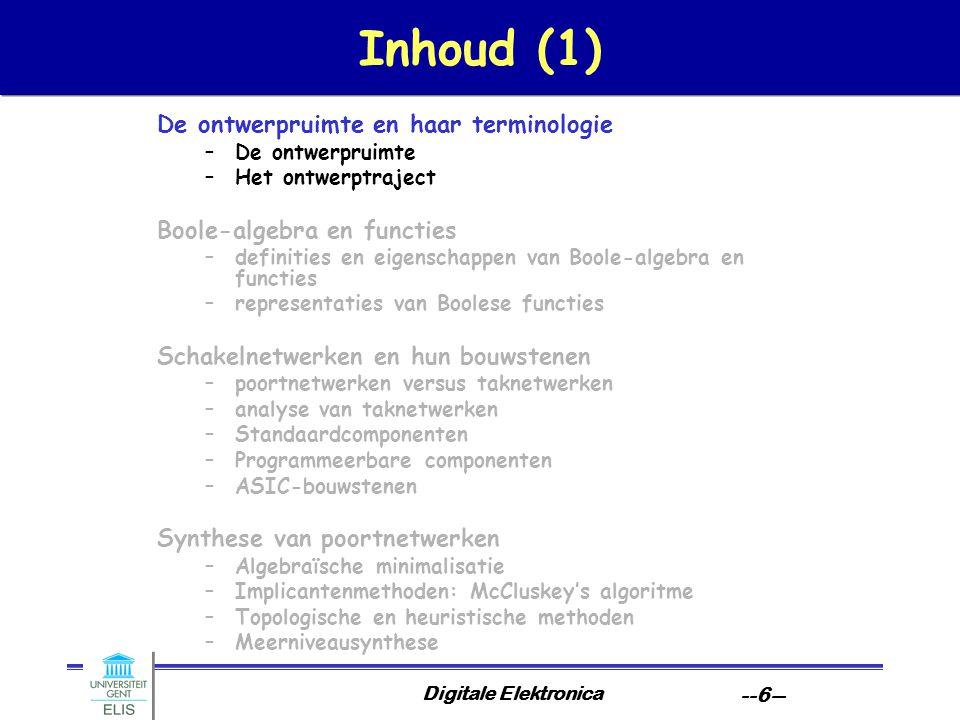 Inhoud (1) De ontwerpruimte en haar terminologie
