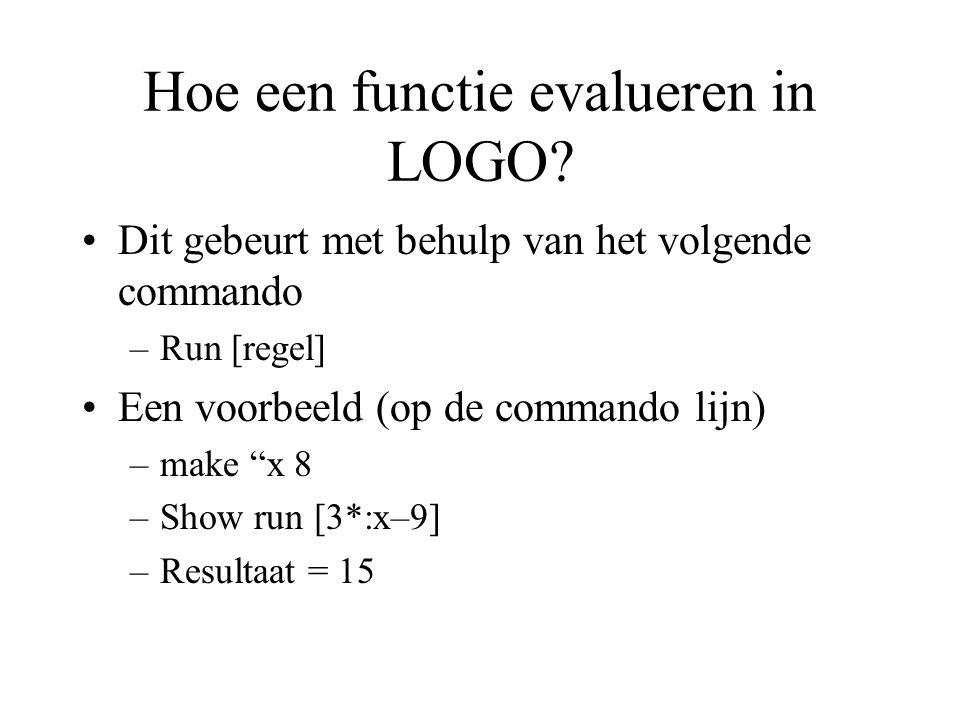 Hoe een functie evalueren in LOGO