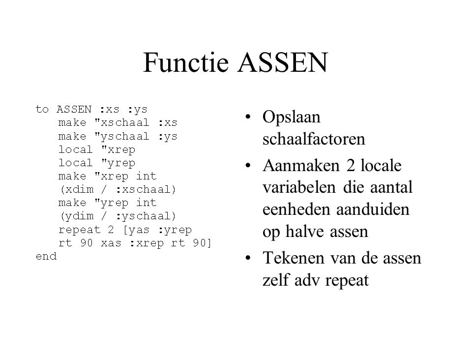 Functie ASSEN Opslaan schaalfactoren