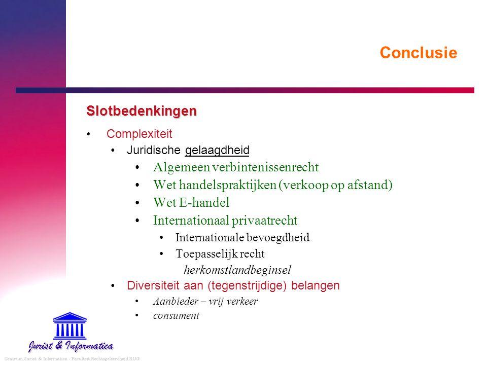 Conclusie Slotbedenkingen Algemeen verbintenissenrecht