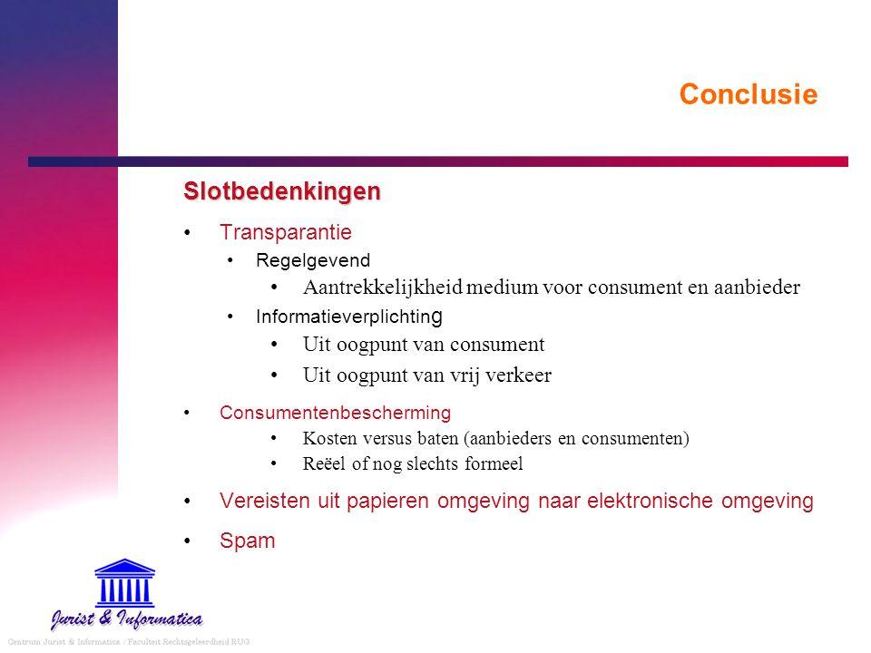 Conclusie Slotbedenkingen Transparantie