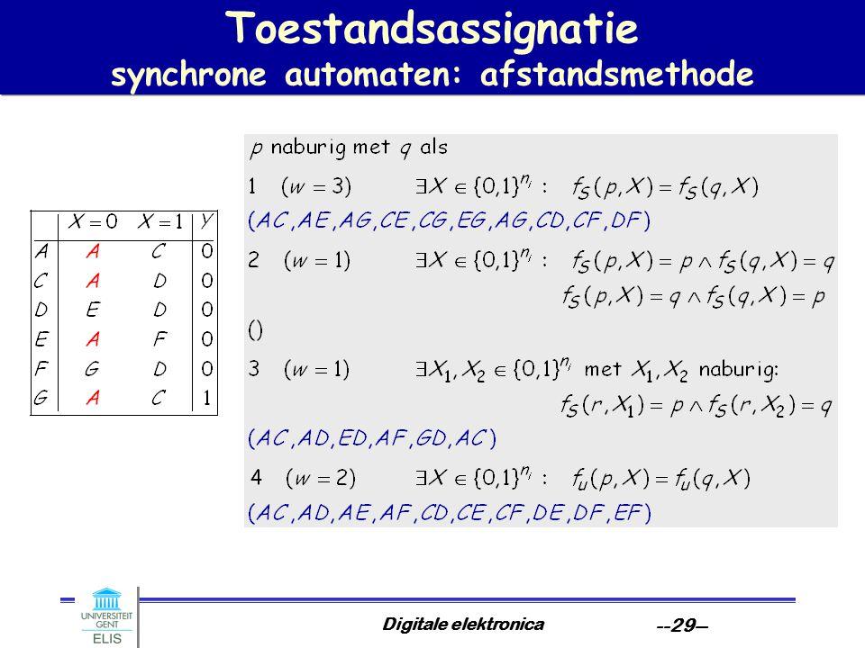 Toestandsassignatie synchrone automaten: afstandsmethode