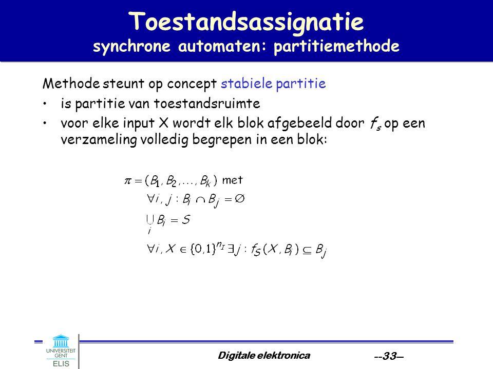 Toestandsassignatie synchrone automaten: partitiemethode