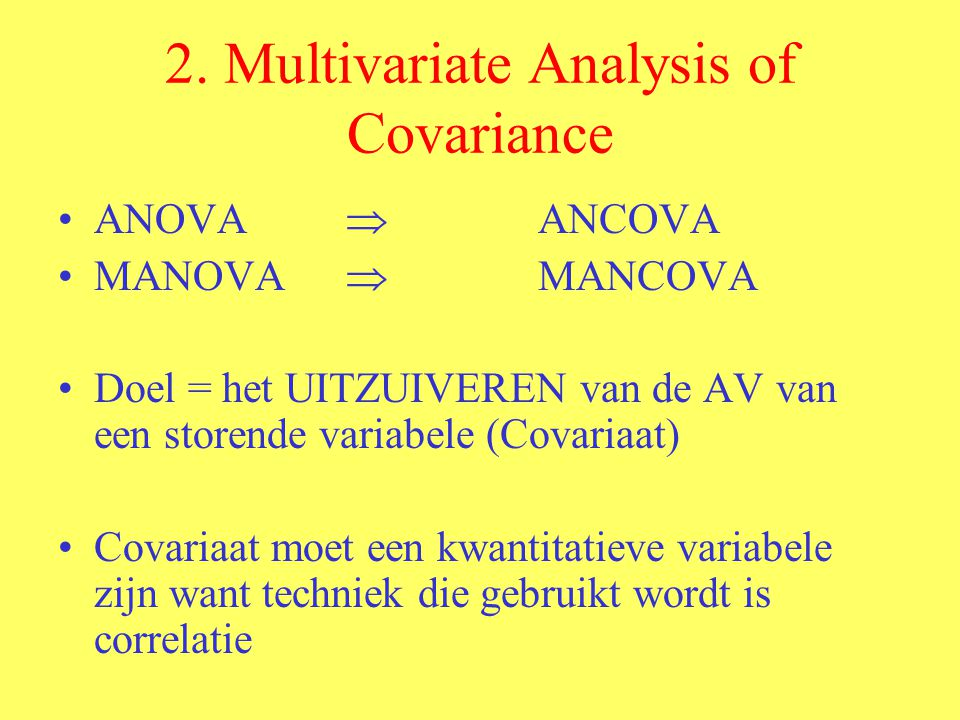 2. Multivariate Analysis of Covariance