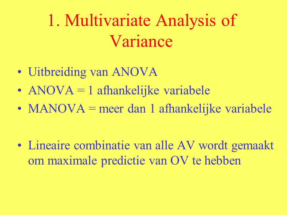 1. Multivariate Analysis of Variance