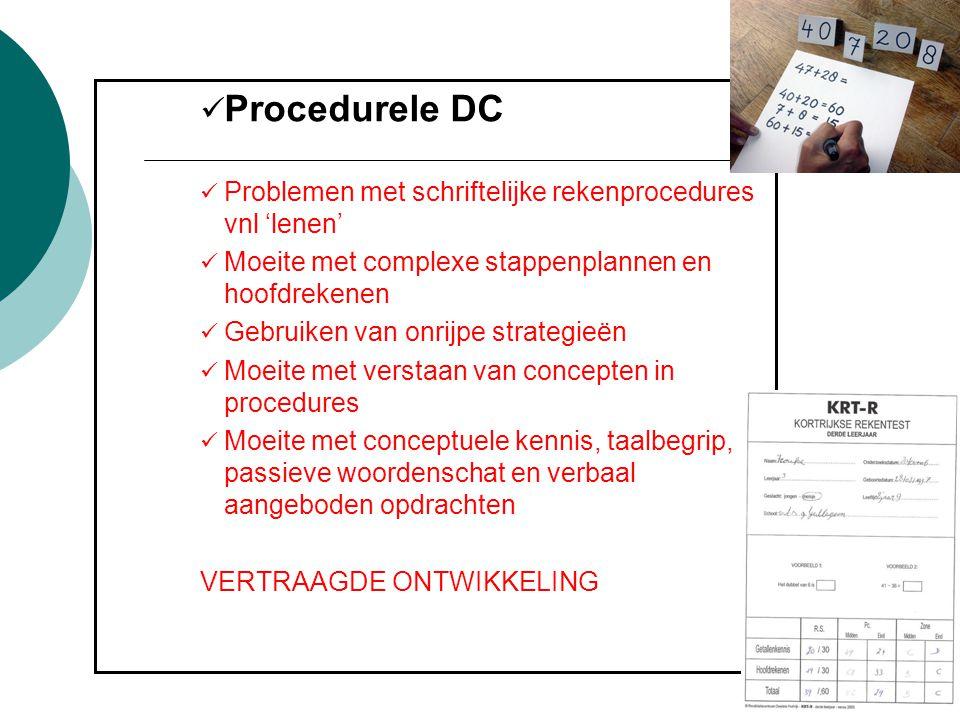 Procedurele DC Problemen met schriftelijke rekenprocedures vnl 'lenen'