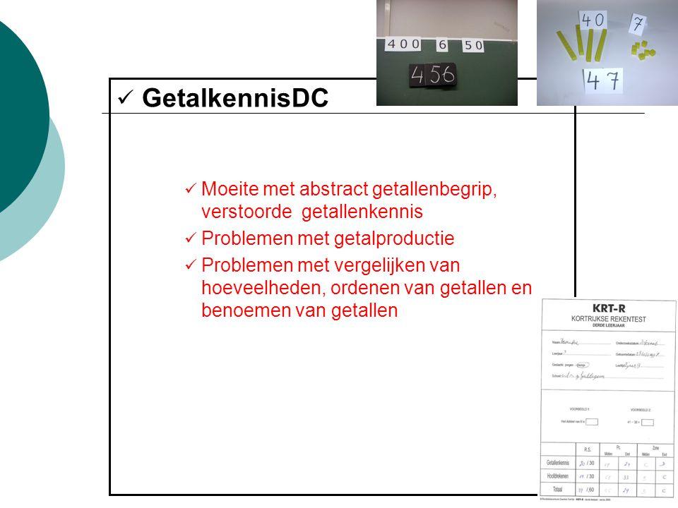 GetalkennisDC Moeite met abstract getallenbegrip, verstoorde getallenkennis. Problemen met getalproductie.