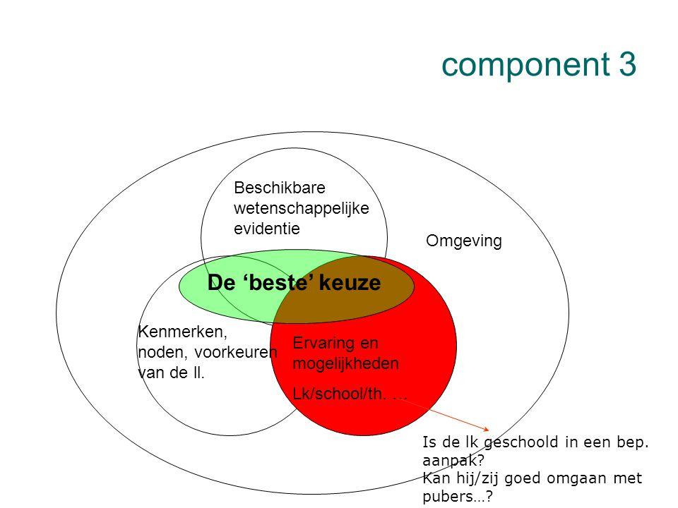 component 3 De 'beste' keuze Beschikbare wetenschappelijke evidentie