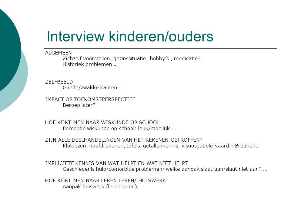 Interview kinderen/ouders