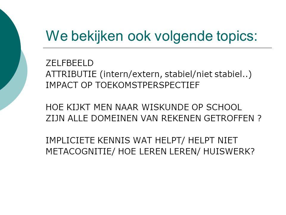 We bekijken ook volgende topics: