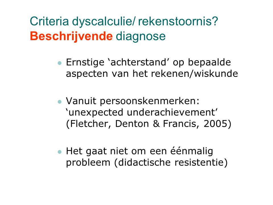Criteria dyscalculie/ rekenstoornis Beschrijvende diagnose