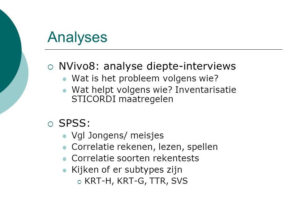 Analyses NVivo8: analyse diepte-interviews SPSS: