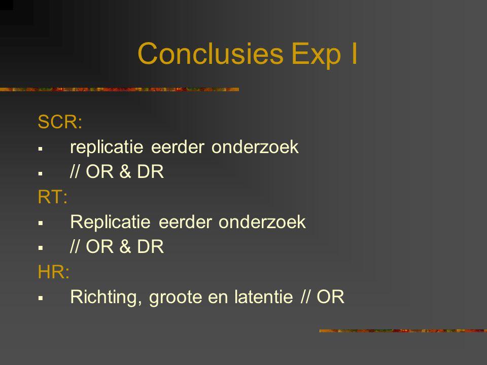 Conclusies Exp I SCR: replicatie eerder onderzoek // OR & DR RT: