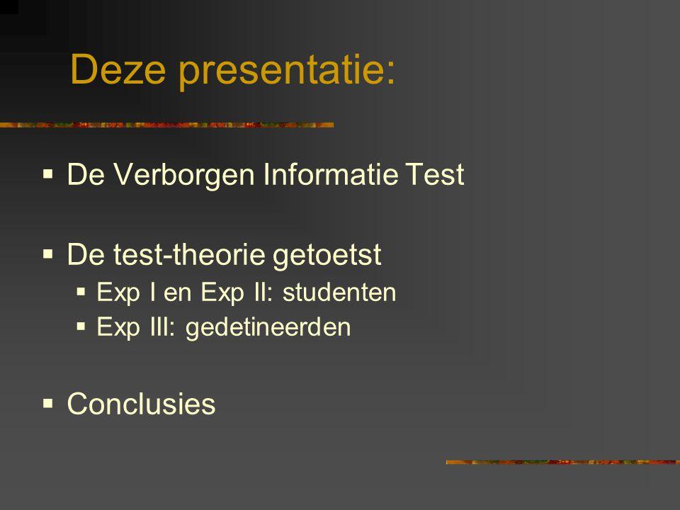Deze presentatie: De Verborgen Informatie Test