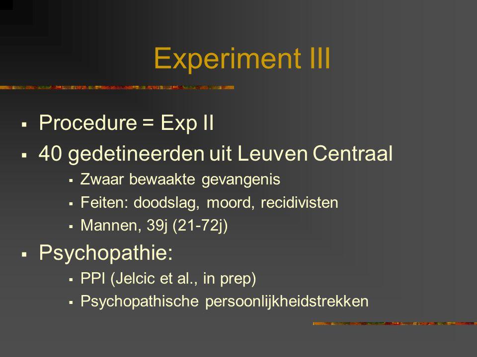 Experiment III Procedure = Exp II 40 gedetineerden uit Leuven Centraal