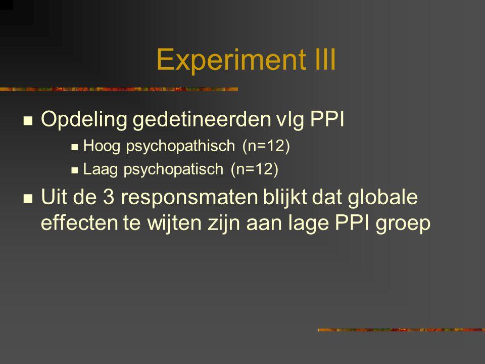 Experiment III Opdeling gedetineerden vlg PPI