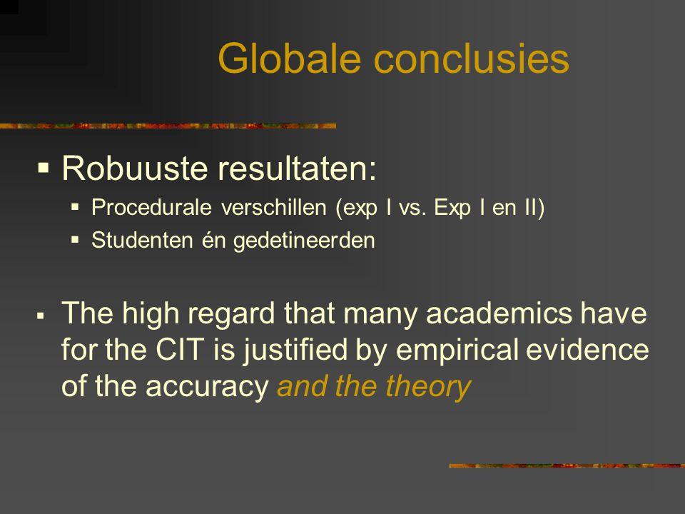 Globale conclusies Robuuste resultaten: