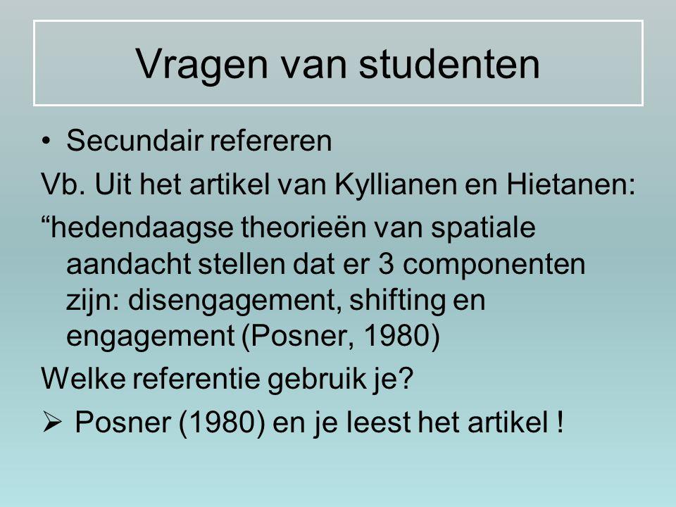 Vragen van studenten Secundair refereren