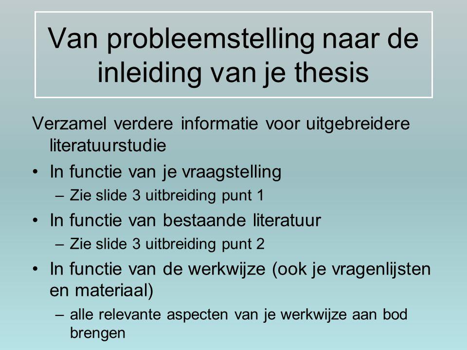 Van probleemstelling naar de inleiding van je thesis
