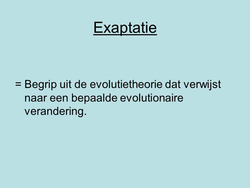 Exaptatie = Begrip uit de evolutietheorie dat verwijst naar een bepaalde evolutionaire verandering.