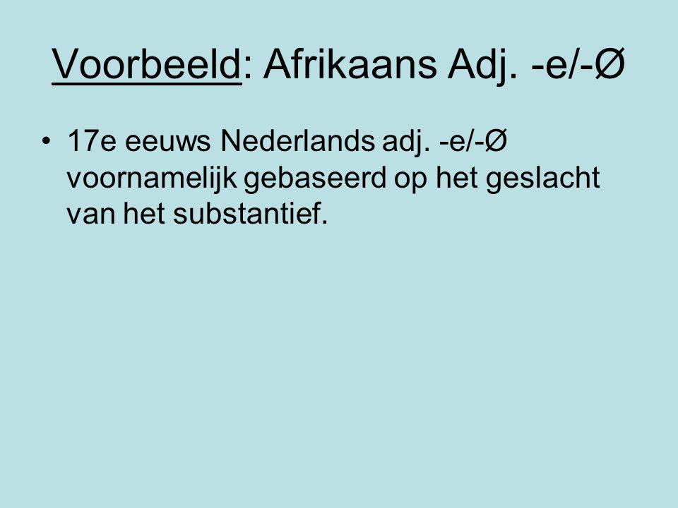 Voorbeeld: Afrikaans Adj. -e/-Ø