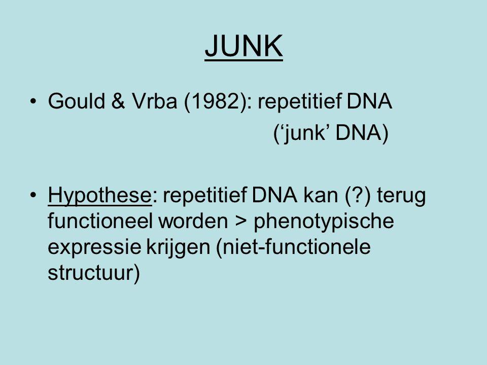 JUNK Gould & Vrba (1982): repetitief DNA ('junk' DNA)
