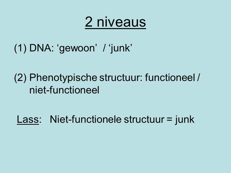 2 niveaus DNA: 'gewoon' / 'junk'
