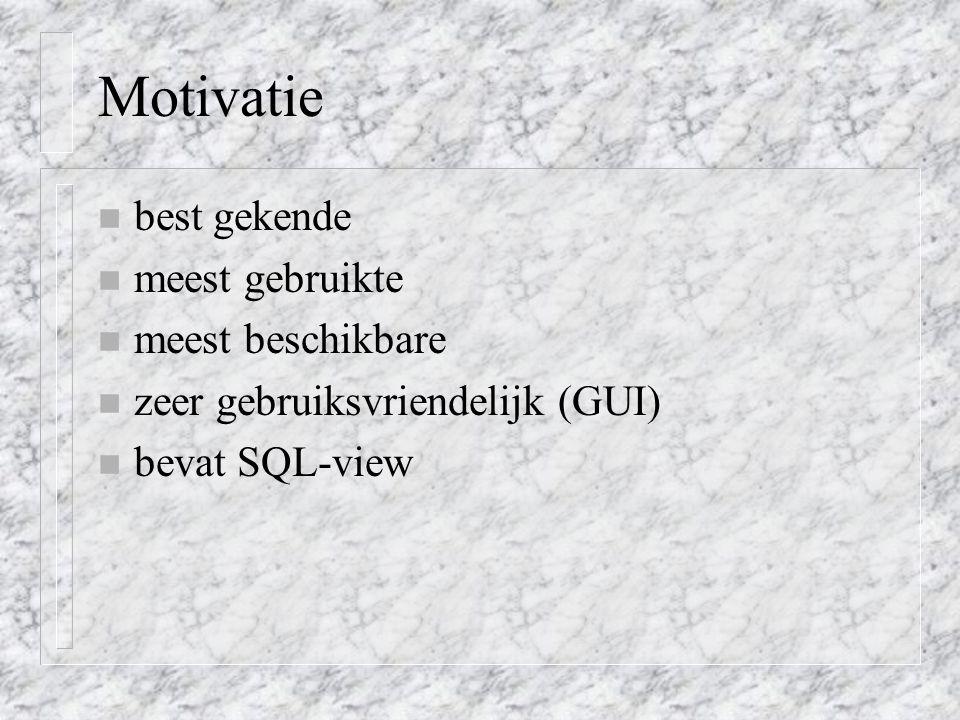 Motivatie best gekende meest gebruikte meest beschikbare