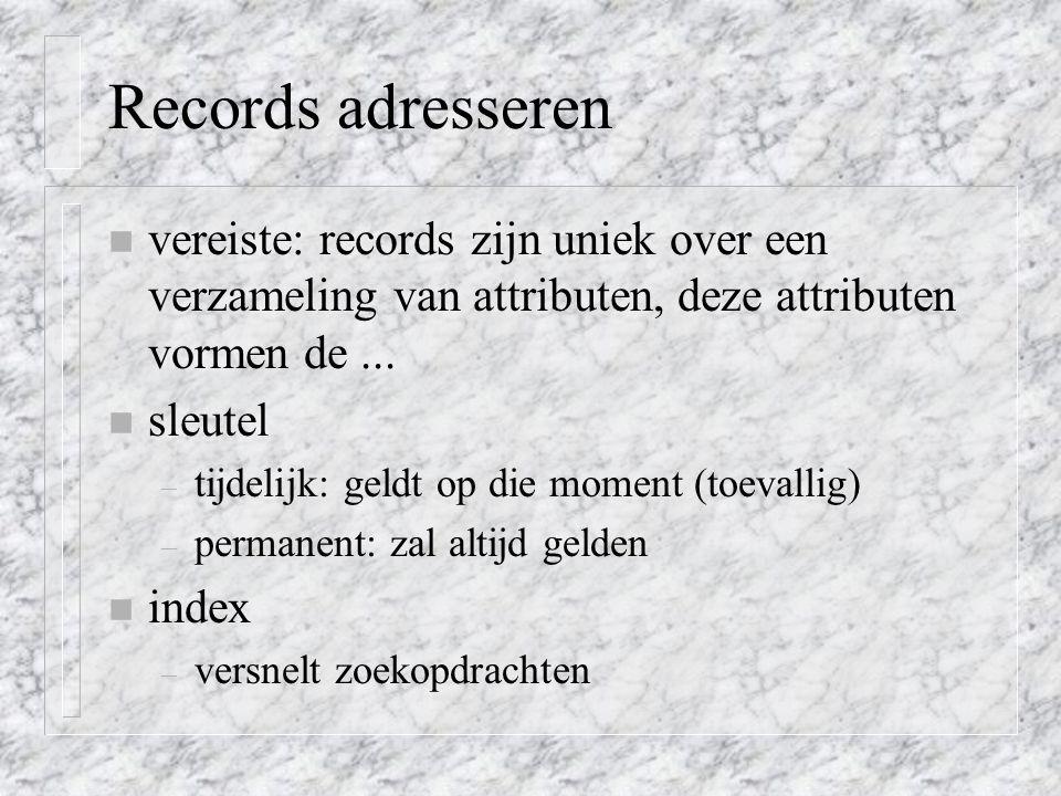 Records adresseren vereiste: records zijn uniek over een verzameling van attributen, deze attributen vormen de ...