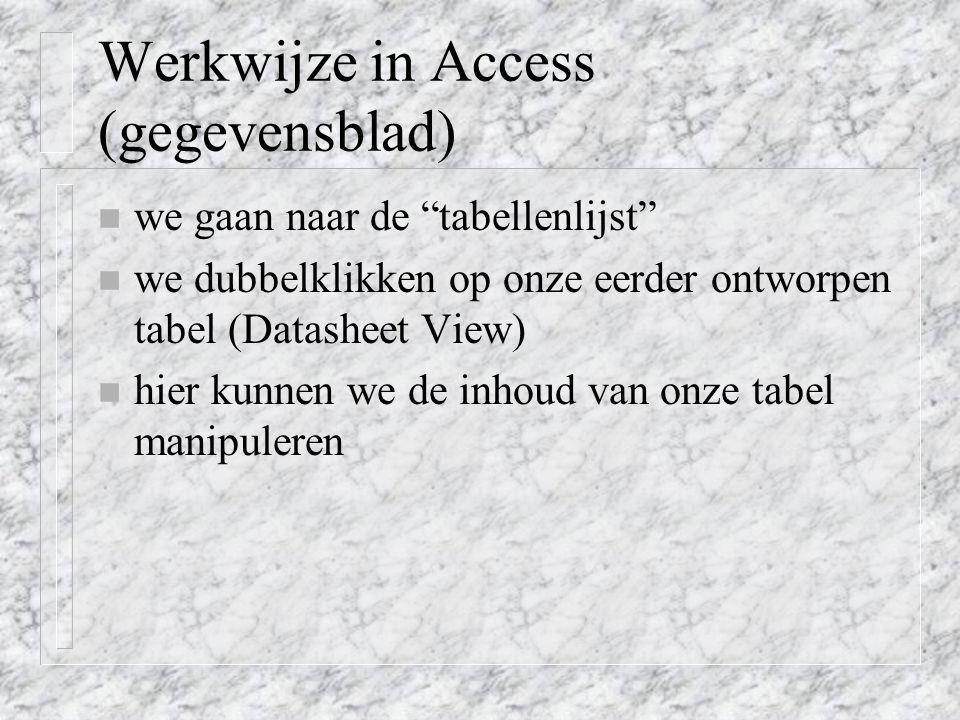 Werkwijze in Access (gegevensblad)
