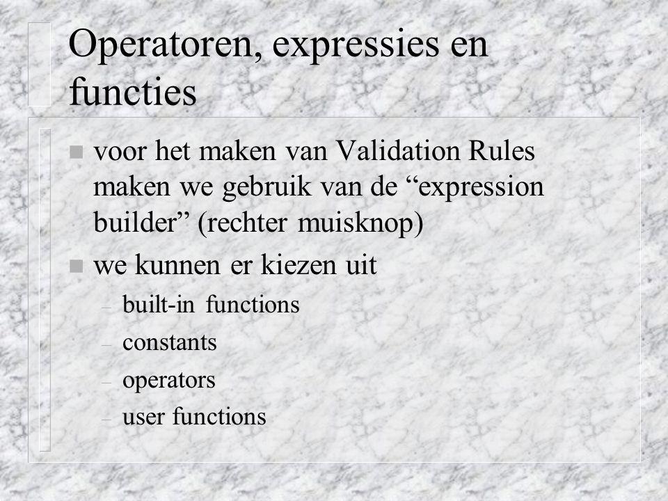 Operatoren, expressies en functies