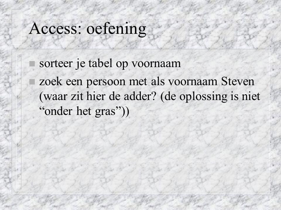 Access: oefening sorteer je tabel op voornaam