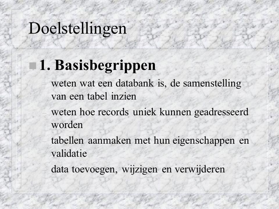 Doelstellingen 1. Basisbegrippen