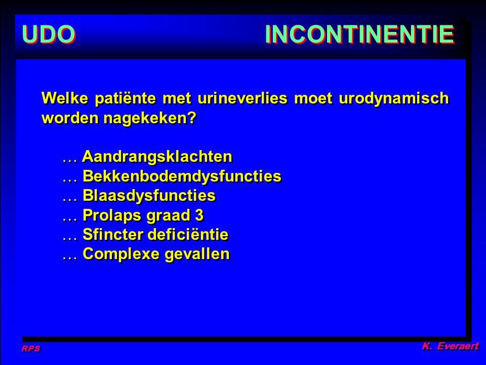 RPS K. Everaert. UDO. INCONTINENTIE. Welke patiënte met urineverlies moet urodynamisch worden nagekeken