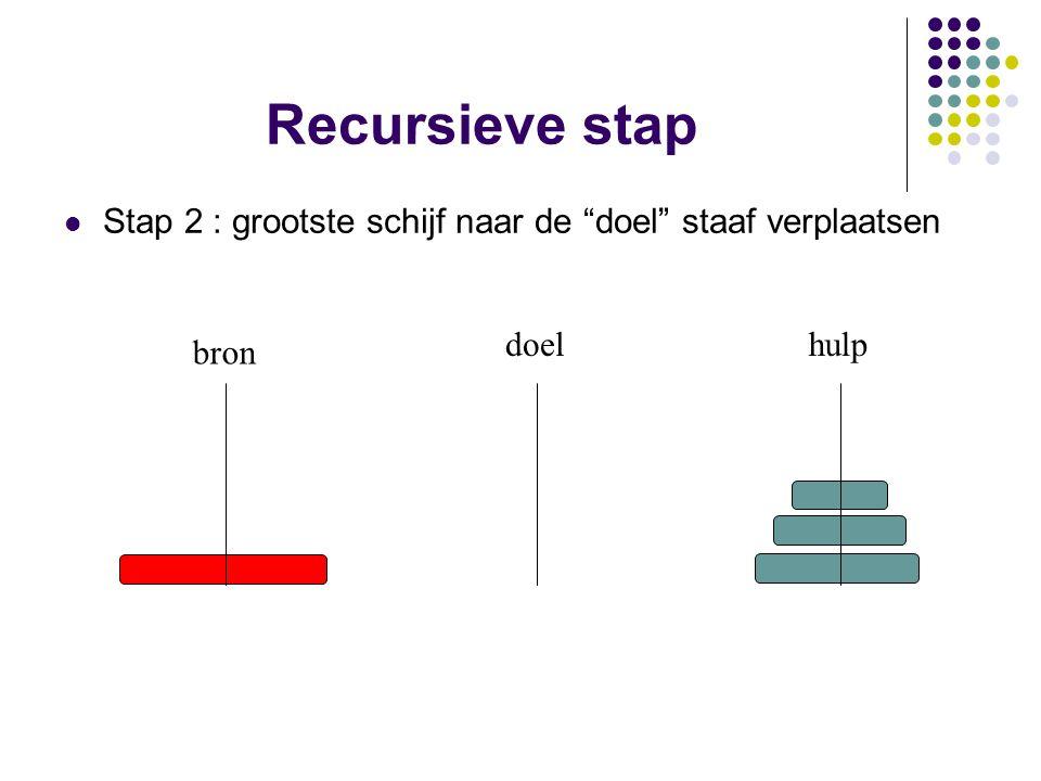 Recursieve stap Stap 2 : grootste schijf naar de doel staaf verplaatsen doel hulp bron