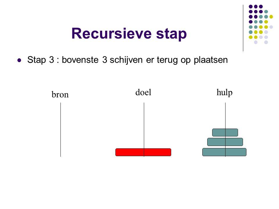 Recursieve stap Stap 3 : bovenste 3 schijven er terug op plaatsen doel
