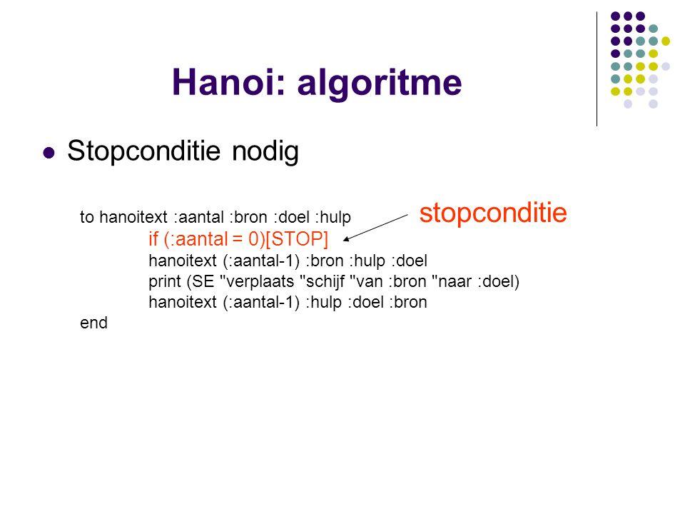 Hanoi: algoritme Stopconditie nodig stopconditie