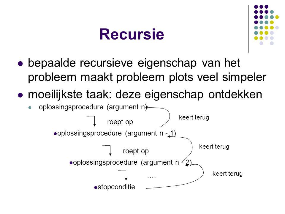 Recursie bepaalde recursieve eigenschap van het probleem maakt probleem plots veel simpeler. moeilijkste taak: deze eigenschap ontdekken.
