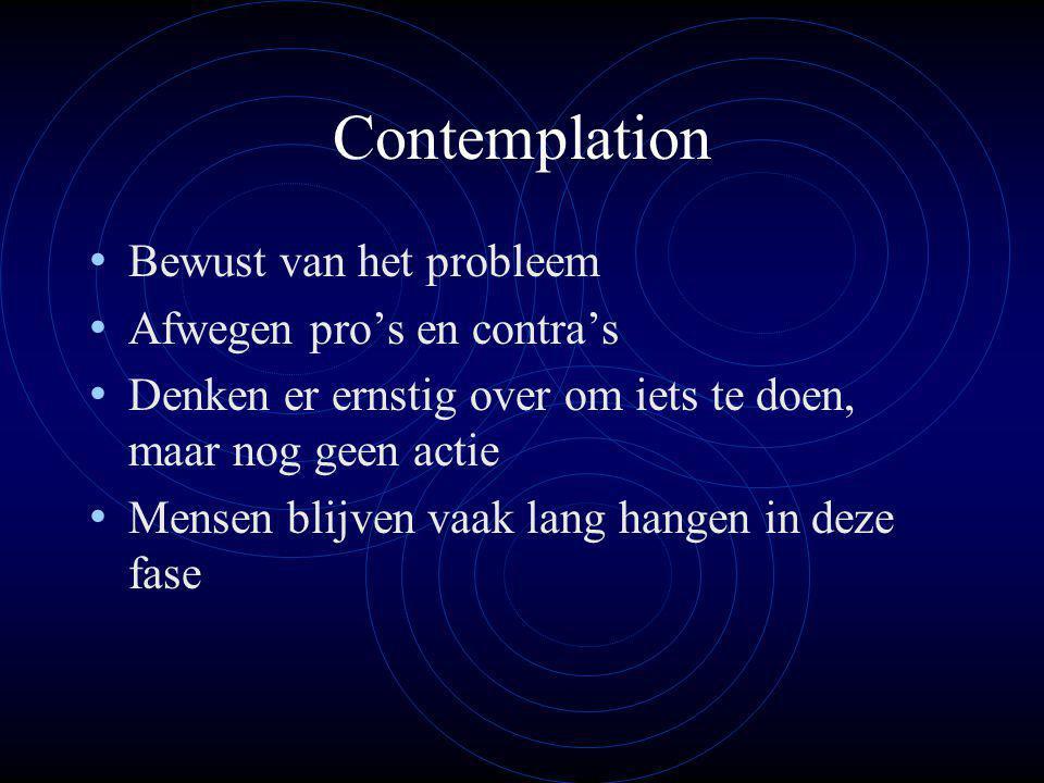 Contemplation Bewust van het probleem Afwegen pro's en contra's