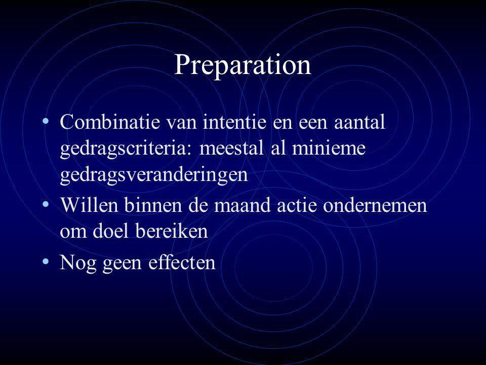 Preparation Combinatie van intentie en een aantal gedragscriteria: meestal al minieme gedragsveranderingen.
