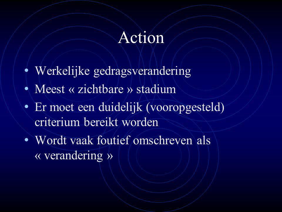 Action Werkelijke gedragsverandering Meest « zichtbare » stadium