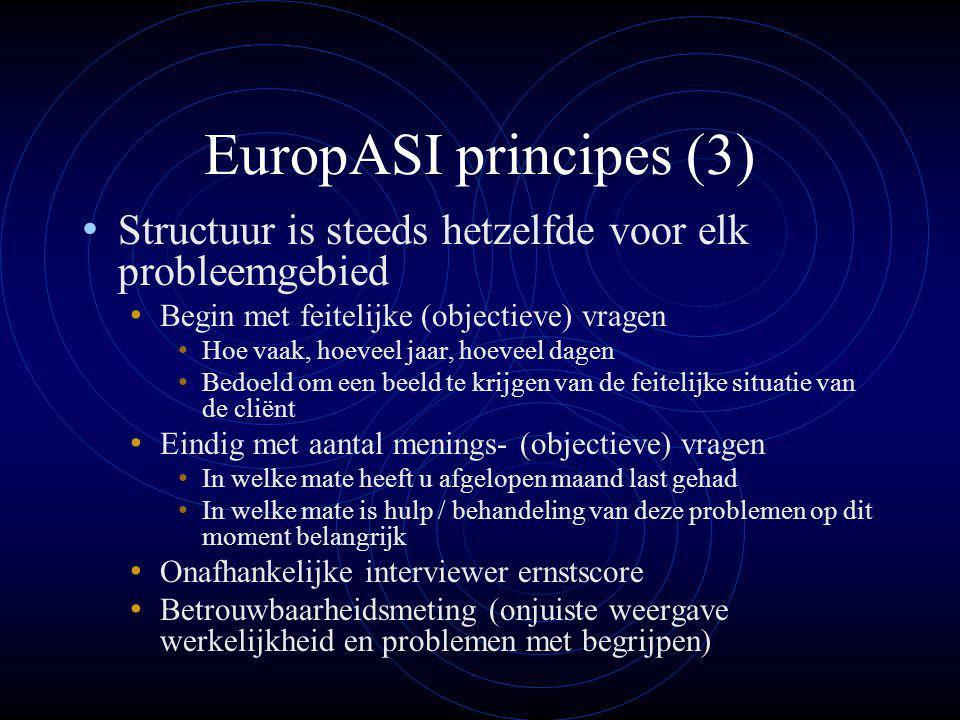 EuropASI principes (3) Structuur is steeds hetzelfde voor elk probleemgebied. Begin met feitelijke (objectieve) vragen.