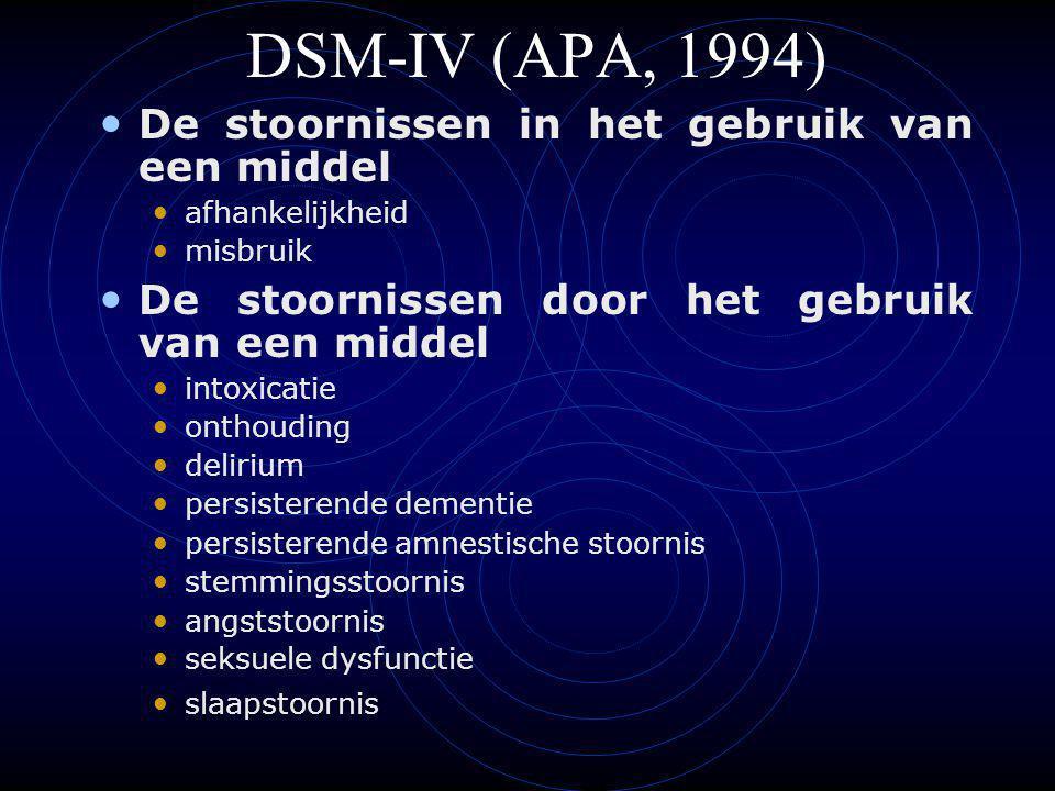 DSM-IV (APA, 1994) De stoornissen in het gebruik van een middel