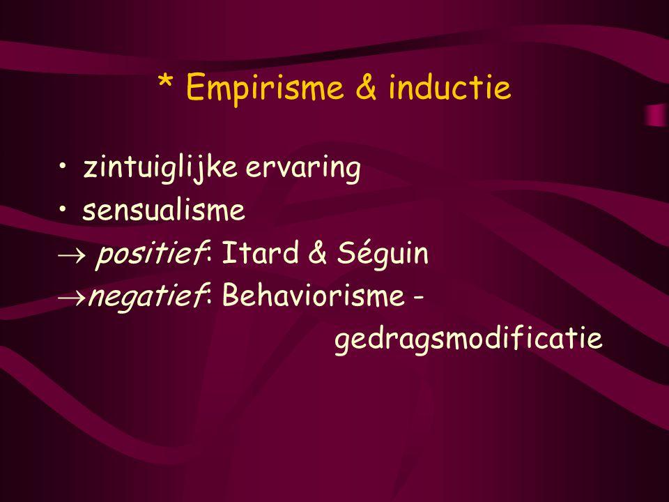 * Empirisme & inductie zintuiglijke ervaring sensualisme