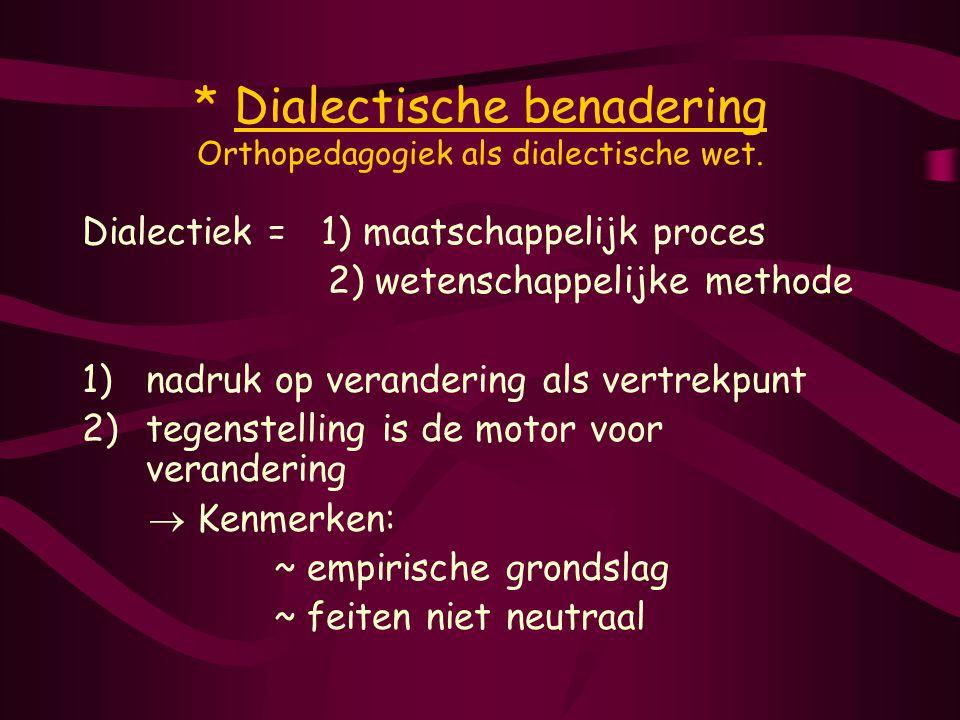 * Dialectische benadering Orthopedagogiek als dialectische wet.
