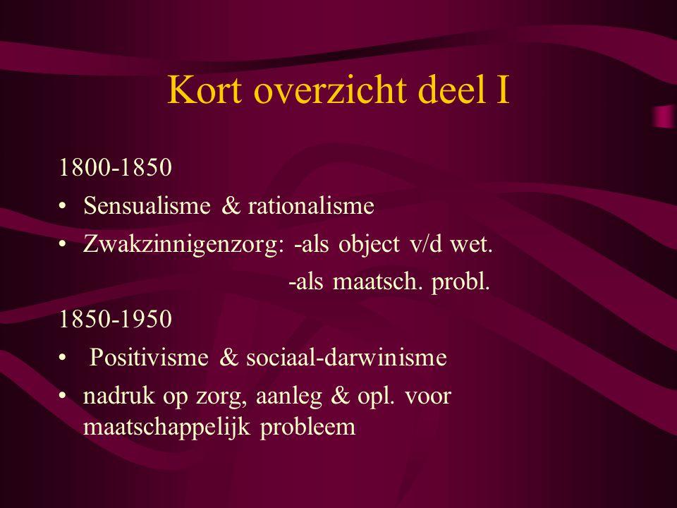 Kort overzicht deel I 1800-1850 Sensualisme & rationalisme