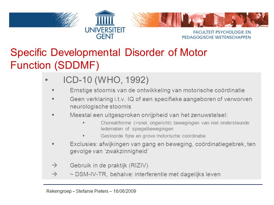 Specific Developmental Disorder of Motor Function (SDDMF)