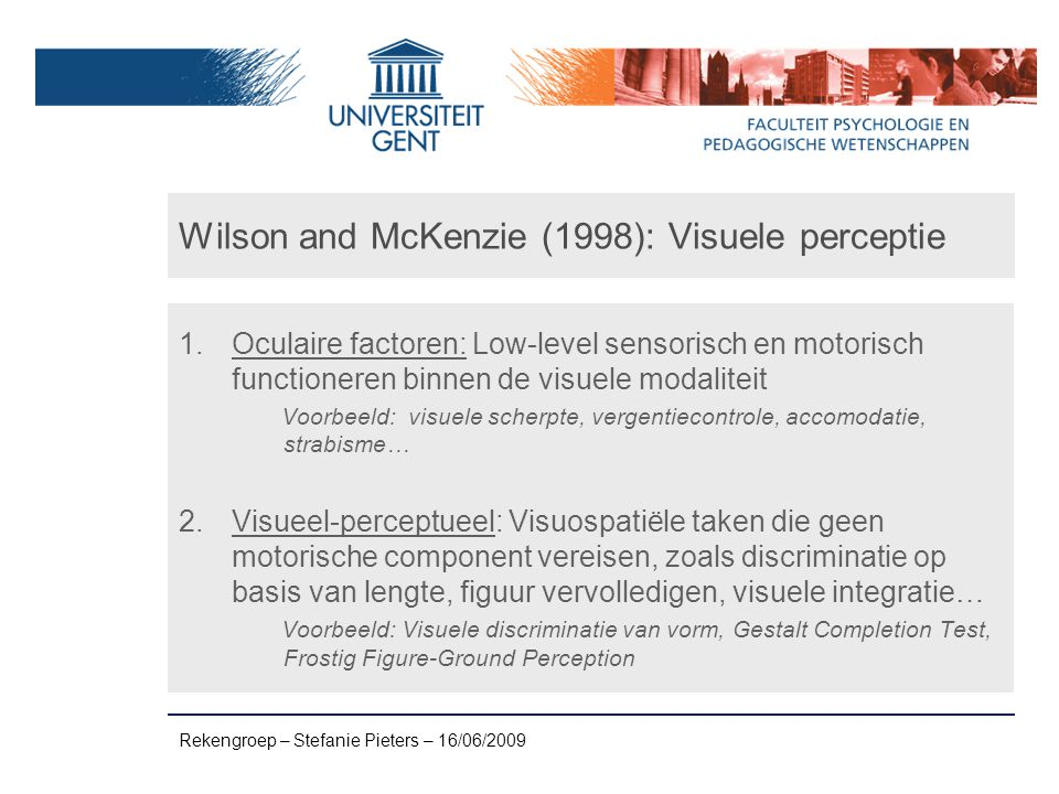 Wilson and McKenzie (1998): Visuele perceptie